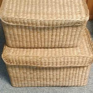 Stackable Lined Wicker Baskets